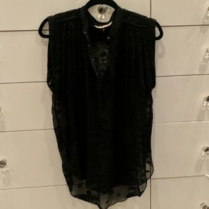 Sheer embroidered black blouse - Rebecca Taylor